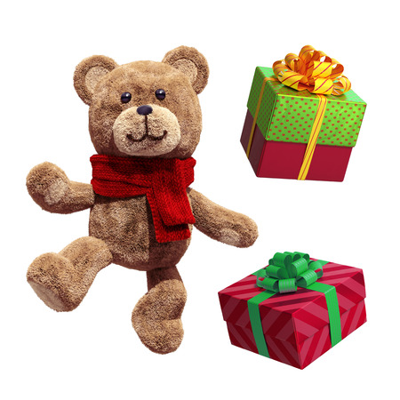 wrapped: toy teddy bear dancing, wrapped Christmas gift boxes, 3d illustration isolated on white background Stock Photo