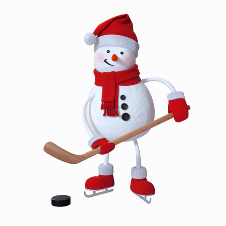 snowman christmas: snowman playing ice hockey, winter sports, 3d illustration, isolated clip art