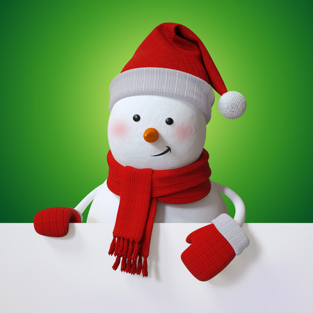 snowman 3d: Christmas banner with snowman, holiday background, 3d cartoon character illustration Stock Photo