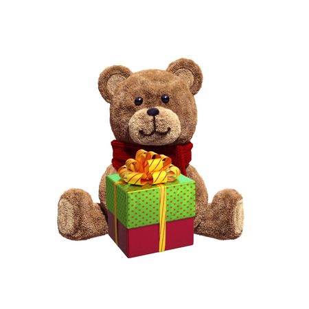toy teddy bear sitting, holding Christmas wrapped gift box, 3d illustration isolated on white background Stock Photo