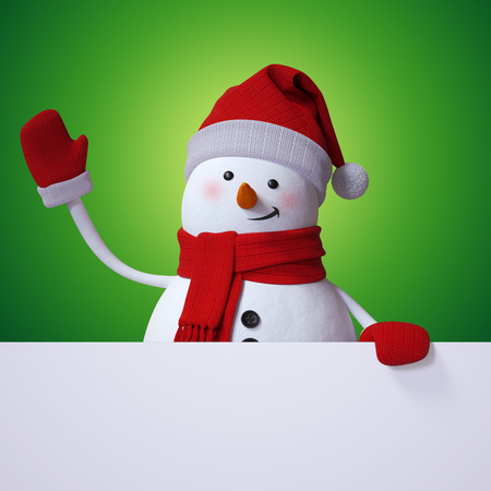 cartoon banner: Christmas banner, snowman waving hand, holiday background, 3d cartoon character illustration