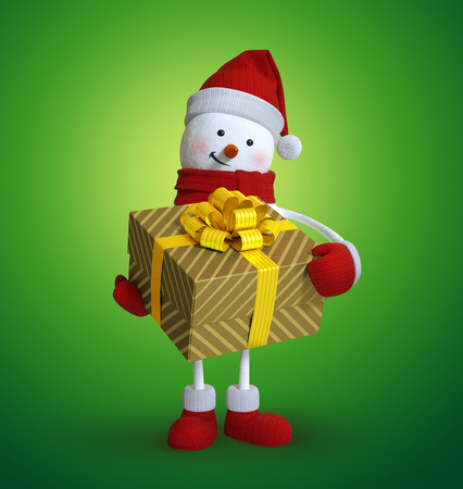 wishlist: Christmas snowman holding big wrapped gift box, 3d illustration, holiday clip art isolated on green background