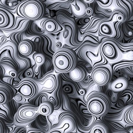 morphing: 3d abstract wavy bubbles background, zebra balls, colored striped fordite shapes