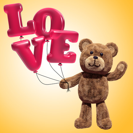 pink teddy bear: fluffy teddy bear toy holding love letters balloons, waving hand, 3d illustration Stock Photo