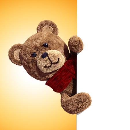 fuzzy: fluffy teddy bear toy holding blank holiday banner, 3d illustration