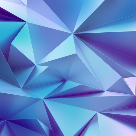 3D abstracte kristal achtergrond, blauw gevette behang