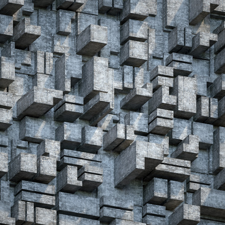 concrete blocks: abstract urban concrete blocks, 3d polygonal relief wall, architectural background Stock Photo