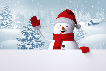happy snowman waving hand, blank banner, winter landscape, snowy forest, Christmas background 스톡 콘텐츠