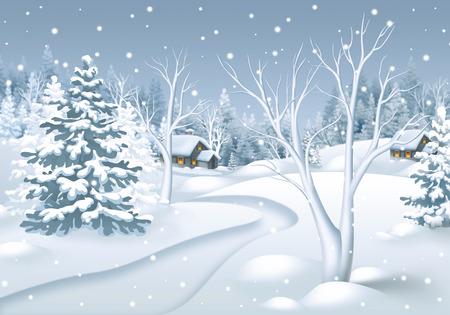冬の風景のイラスト、雪に覆われた森、自然の背景の小道