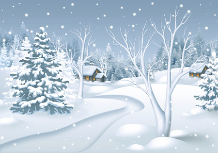 winter landscape illustration, footpath in snowy forest, nature background
