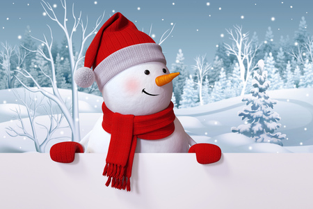 funny snowman blank banner, winter nature background, snowy forest 스톡 콘텐츠