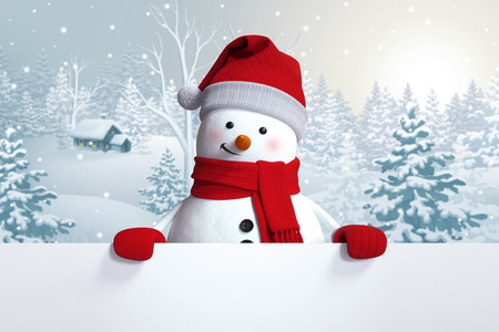funny snowman blank banner, winter landscape, nature background, snowy forest Stockfoto