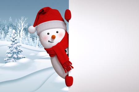 面白い雪だるまは空白のバナー、冬の風景、自然の背景、雪に覆われた森