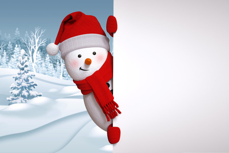 seasons greeting card: funny snowman blank banner, winter landscape, nature background, snowy forest Stock Photo