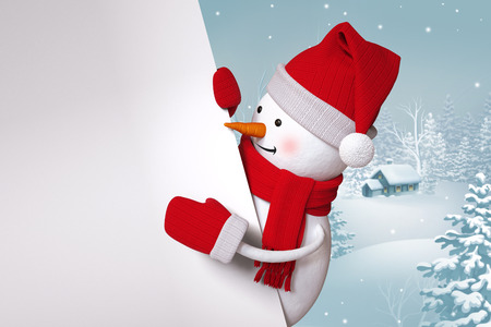 peep out: funny snowman blank banner, winter landscape, nature background, snowy forest Stock Photo