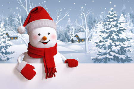 christmas winter: happy snowman holding blank banner, snowy forest, Christmas background, winter landscape