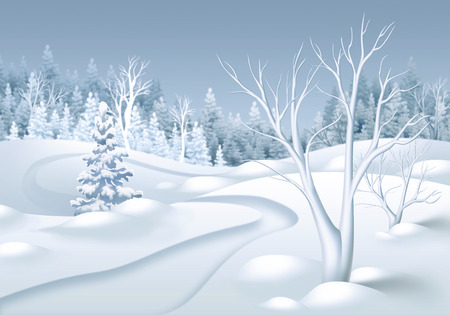 winter forest: winter forest landscape horizontal illustration