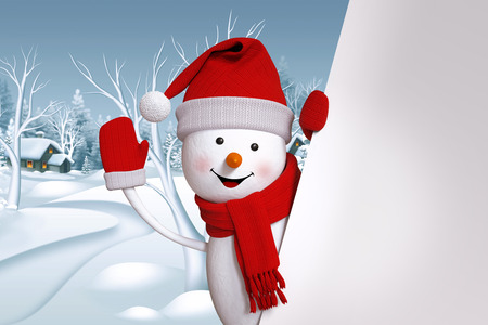 happy snowman waving hand, blank banner, winter landscape, Christmas background