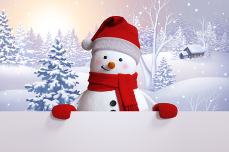 snowy: winter nature, snowy landscape, snowman greeting card, Christmas festive background