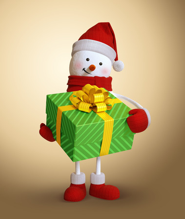 snowman 3d: snowman holding wrapped gift box, 3d character illustration, Christmas holiday clip art