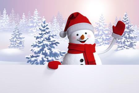 Bonhomme de neige heureux agitant la main, modèle de bannière blanc, paysage d'hiver, forêt enneigée, Noël ou du Nouvel An de fond Banque d'images - 49007581