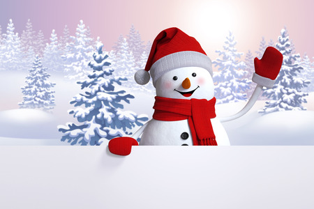 happy snowman waving hand, blank banner template, winter landscape, snowy forest, Christmas or New Year background Zdjęcie Seryjne