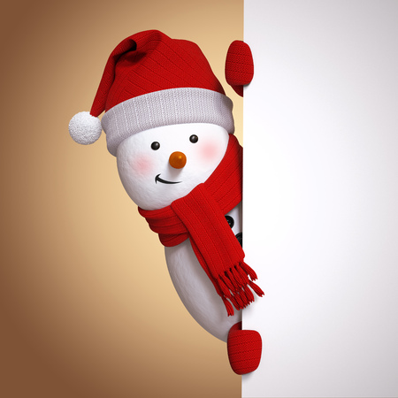 from behind: snowman holding blank banner, white page, hiding behind the corner, 3d illustration, Christmas holiday clip art Stock Photo