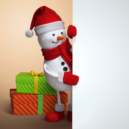 looking in corner: snowman looking out the corner, holding blank banner, 3d illustration, Christmas holiday silver background Stock Photo
