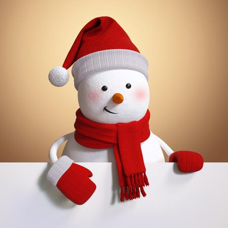 snowman 3d: blank Christmas banner, snowman 3d illustration, holiday background