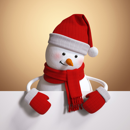 paper board: snowman holding blank banner, white page, 3d illustration, Christmas holiday clip art