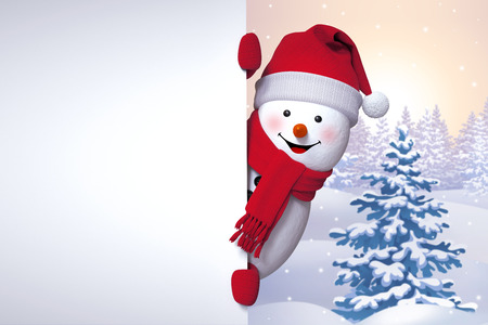 winter greetings, snowman holding blank banner, looking out the corner, Christmas tree background, Happy New Year Foto de archivo