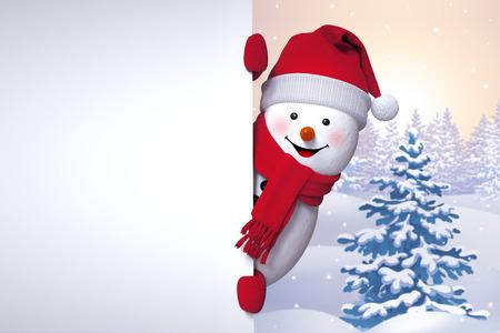 Saluti inverno, pupazzo di neve che tengono bandiera in bianco, guardando fuori l'angolo, albero di Natale sfondo, Felice Anno Nuovo Archivio Fotografico - 49007636