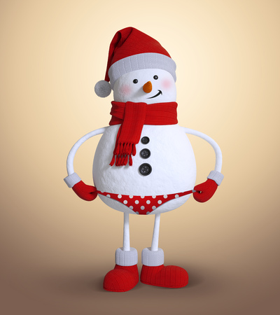 humorous: playful snowman wearing bikini, holiday humorous clip art Stock Photo