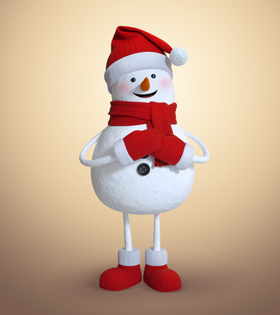 3d render, character illustration, snowman making a wish, Christmas holiday clip art