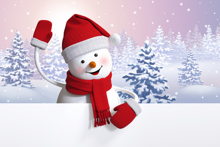funny snowman over winter background, Christmas Holiday greeting card, 3d illustration