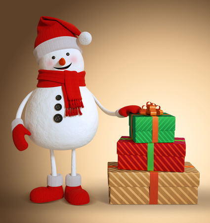 3d render, snowman, wrapped gift boxes, character illustration, Christmas holiday clip art