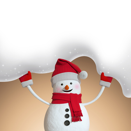 hiding: 3d illustration, snowman hiding under snowy Christmas banner, beige holiday background, Stock Photo