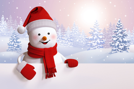 christmas banner: snowman greeting card, Christmas background, winter landscape, snowy forest, 3d illustration