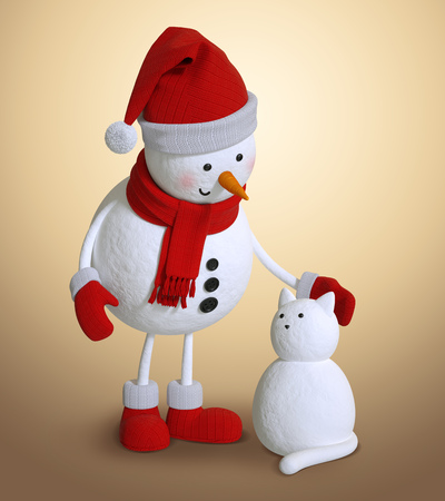 winter snow: snowman and snow cat, 3d character illustration, Christmas holiday clip art