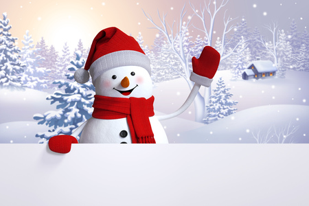 snowman greeting card, Christmas holiday background, winter nature, snowy landscape, Happy New Year