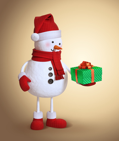 wrapped: snowman holding wrapped gift box, 3d character illustration, Christmas holiday clip art
