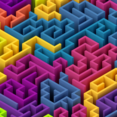 3d render, 3d illustration, abstract geometric background, colorful labyrinth Stock Photo