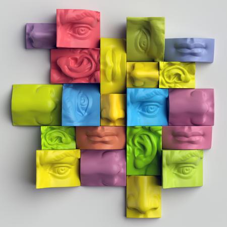 michelangelo: 3d render, digital illustration, abstract colorful blocks, eyes, nose, lips, mouth, anatomy sculptural face details, David sculpture parts