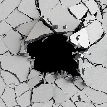 pared rota: 3d, 3d ilustración, explosión, muro de hormigón agrietado, agujero de bala, destrucción, resumen de antecedentes