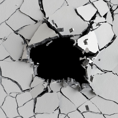 cracked wall: 3d render, 3d illustration, explosion, cracked concrete wall, bullet hole, destruction, abstract background Stock Photo
