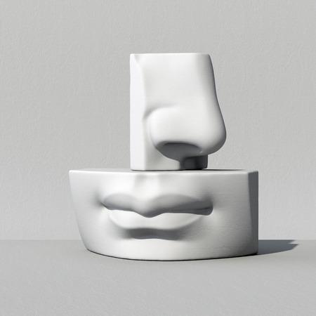 디지털 그림, 추상 설화 석고 블록, 코, 입술, 입, 해부학 조각 얼굴 세부 사항, 데이비드 조각 부품 3d 렌더링