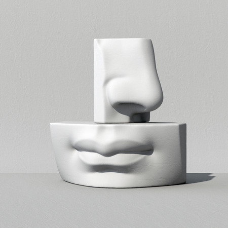 3d render, digitale illustratie, abstract albast blokken, neus, lippen, mond, anatomie sculpturale gezicht details David sculptuur delen Stockfoto