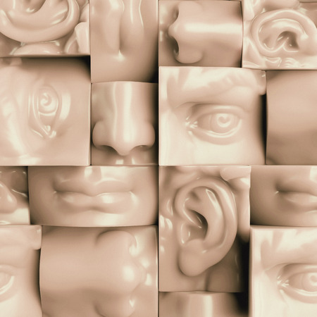 noses: 3d render, digital illustration, abstract wax blocks, eyes, nose, lips, mouth, anatomy sculptural face details, David sculpture parts