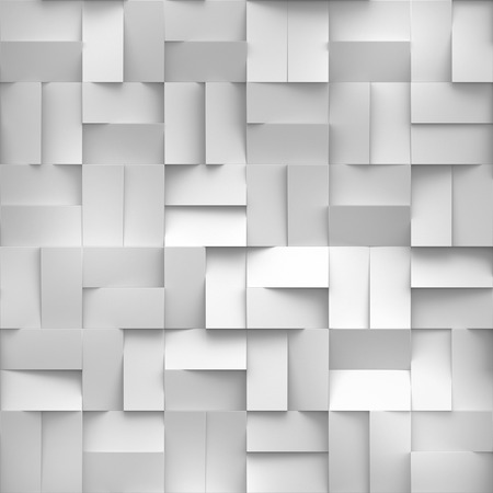 3 d レンダリング、白ブロックのデジタル イラスト、抽象的な幾何学的な背景、シームレスなテクスチャ 写真素材 - 60195064
