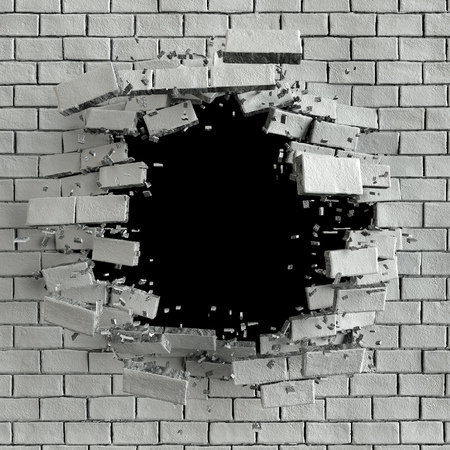cracked wall: 3d render, 3d illustration, explosion, cracked brick wall, bullet hole, destruction, abstract background Stock Photo